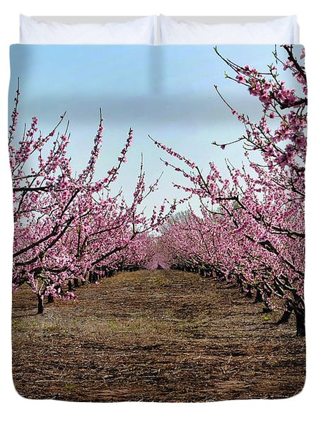 Peaches To Be Duvet Cover by Skip Willits