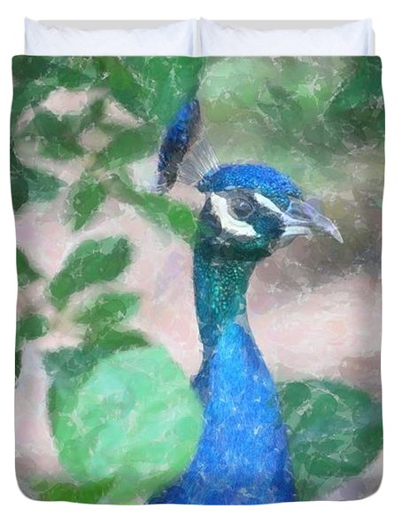 Duvet Cover featuring the photograph Peacock by Donna  Smith