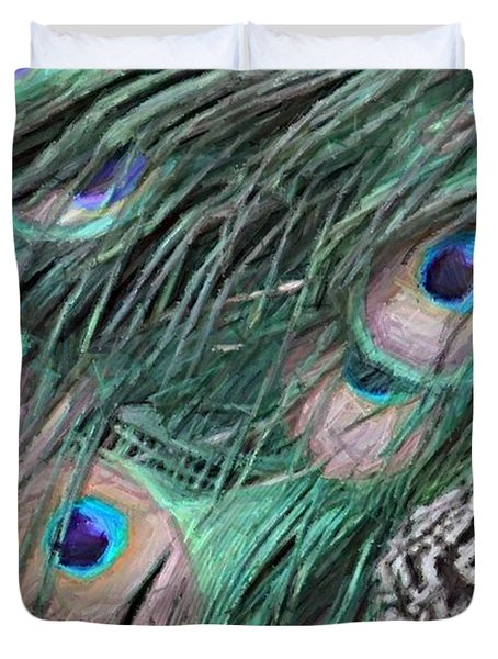 Duvet Cover featuring the photograph Peacock Feathers by Donna  Smith