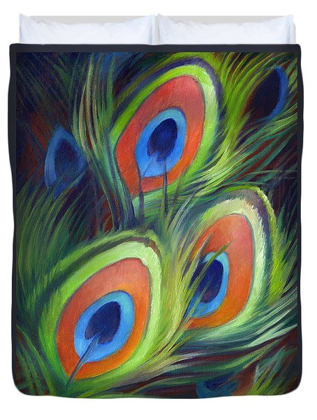 Duvet Cover featuring the painting Peacock Feathers by Nancy Tilles
