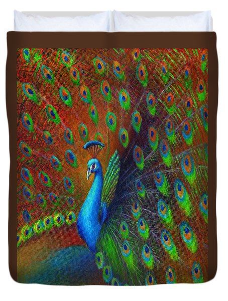 Duvet Cover featuring the painting Peacock Spread by Nancy Tilles