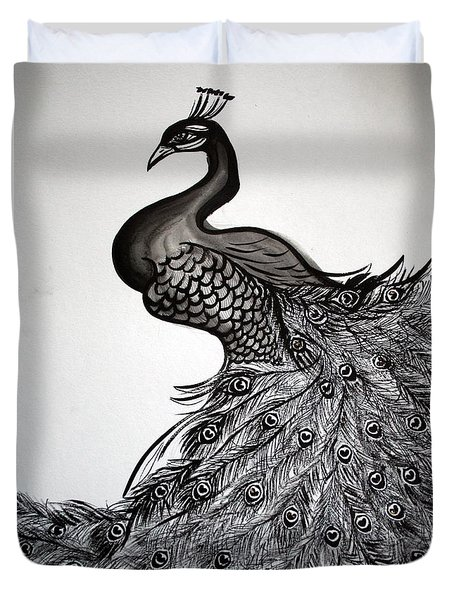 Peacock Sumie Ink Duvet Cover