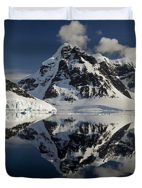 Peaks Along  Neumayer Channel Duvet Cover by Colin Monteath