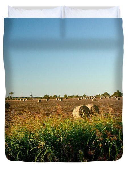 Peanut Bales In Field Duvet Cover by Douglas Barnett