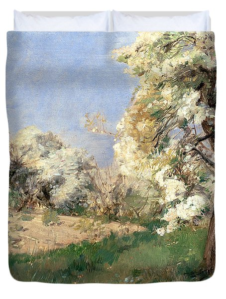 Pear Blossoms Duvet Cover by Childe Hassam