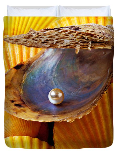 Pearl In Oyster Shell Duvet Cover