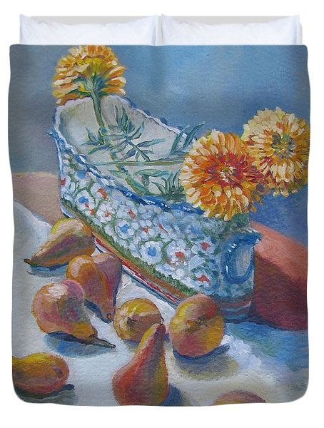 Pears And Antique Duvet Cover by Vanessa Hadady BFA MA
