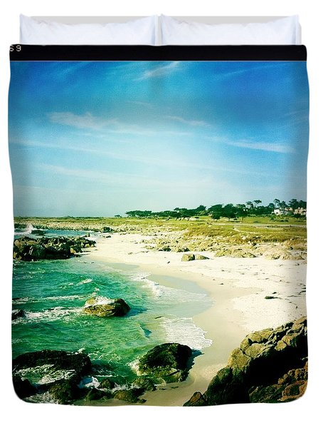 Duvet Cover featuring the photograph Pebble Beach by Nina Prommer