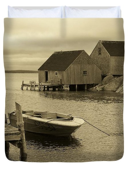 Peggys Cove In Sepia Duvet Cover by Richard Bryce and Family