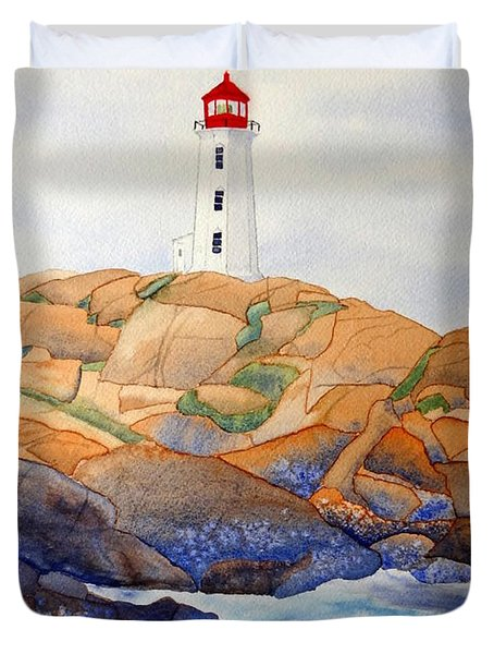Duvet Cover featuring the painting Peggy's Cove by Laurel Best