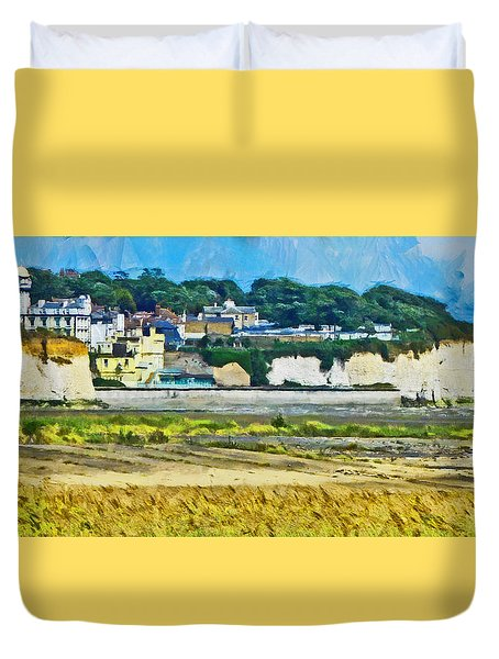 Duvet Cover featuring the digital art Pegwell Bay by Steve Taylor