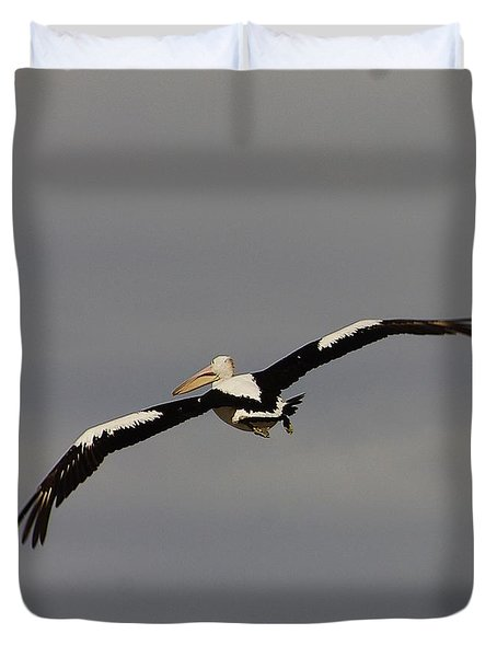 Duvet Cover featuring the photograph Pelican In Flight 2 by Blair Stuart