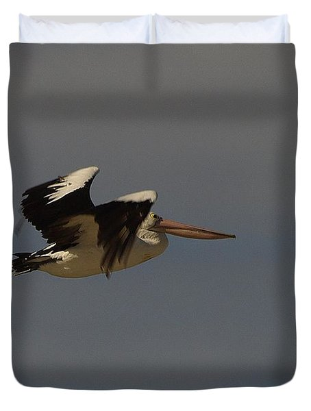 Duvet Cover featuring the photograph Pelican In Flight 3 by Blair Stuart