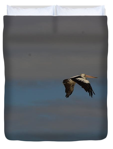 Duvet Cover featuring the photograph Pelican In Flight 4 by Blair Stuart
