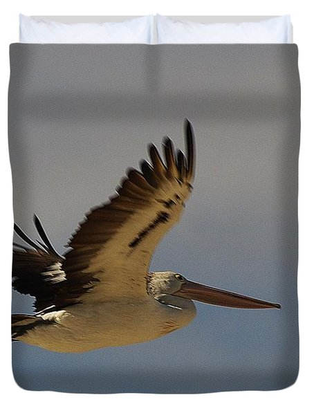 Duvet Cover featuring the photograph Pelican In Flight 5 by Blair Stuart
