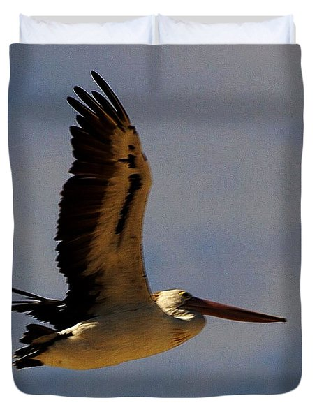 Duvet Cover featuring the photograph Pelican In Flight by Blair Stuart