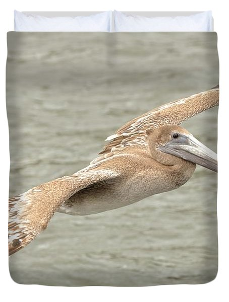Pelican On The Water Duvet Cover by Rick Frost