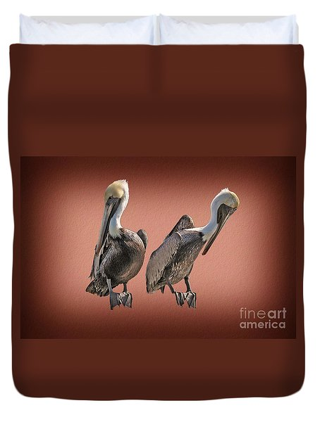 Duvet Cover featuring the photograph Pelicans Posing by Dan Friend
