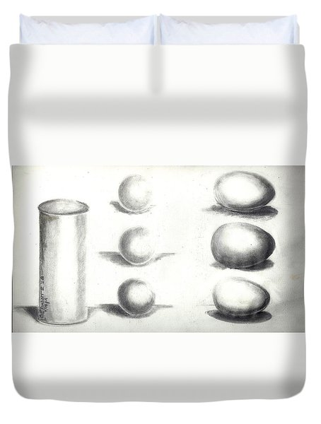 Pencil Shadows Duvet Cover by Bernadette Krupa