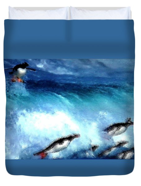 Penquin Play Duvet Cover