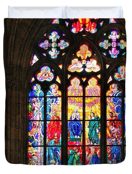 Pentecost Window - St. Vitus Cathedral Prague Duvet Cover by Christine Till
