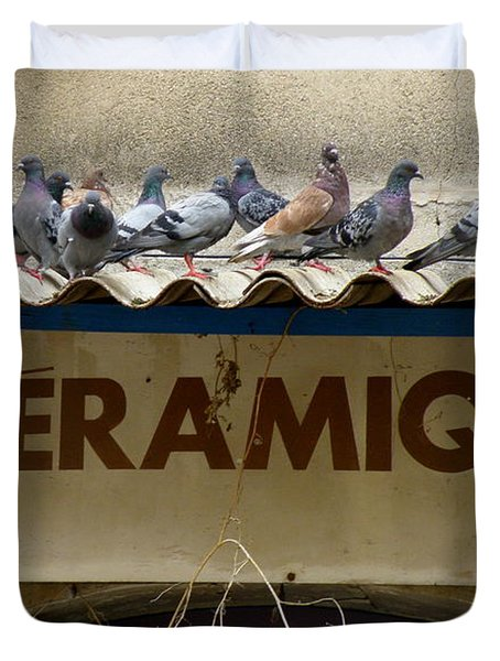 Perched Pigeons Duvet Cover by Lainie Wrightson