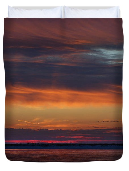 Perdido Pass Red Sunrise Duvet Cover by Michael Thomas