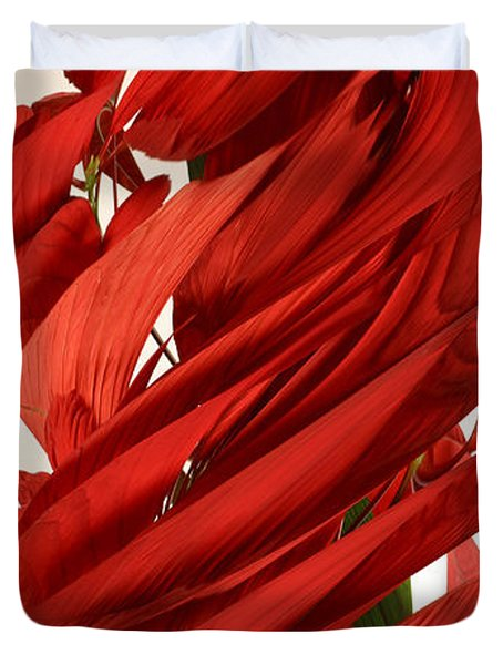 Peripheral Streak Image Of A Poinsettia Duvet Cover by Ted Kinsman