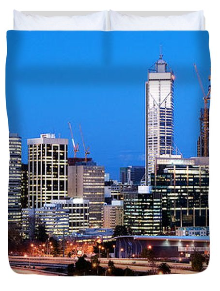 Duvet Cover featuring the photograph Perth City Night View From Kings Park by Yew Kwang