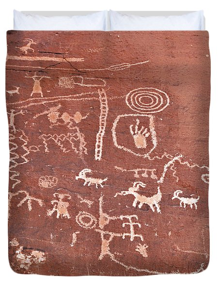 Petroglyph Canyon - Valley Of Fire Duvet Cover by Christine Till