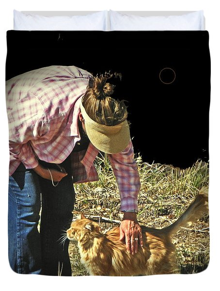 Petting The Ranch Cat Duvet Cover by Lenore Senior and Dawn Senior-Trask