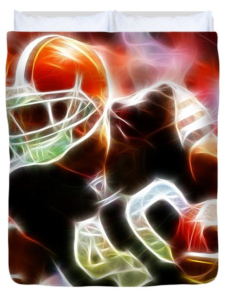Peyton Hillis Magical Duvet Cover by Paul Van Scott