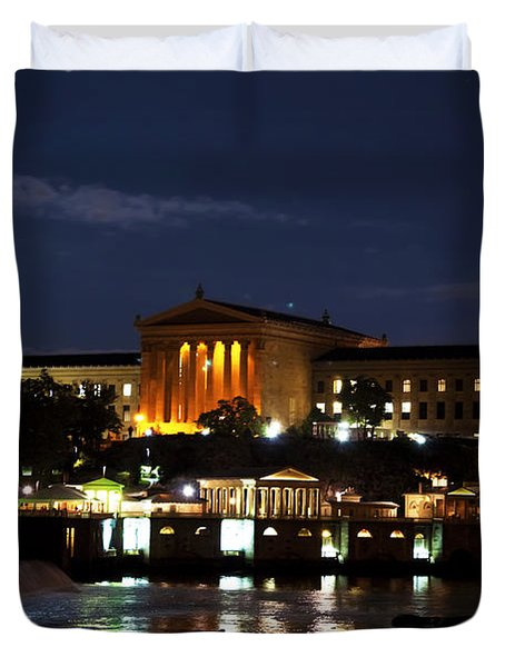 Philadelphia Art Museum And Waterworks All Lit Up Duvet Cover by Bill Cannon
