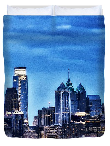 Philadelphia At Night Duvet Cover by Bill Cannon