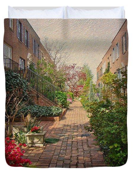 Philadelphia Courtyard - Symphony Of Springtime Gardens Duvet Cover by Mother Nature