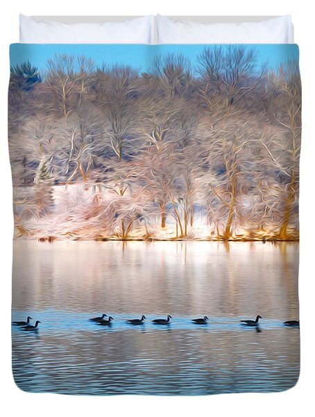 Philadelphia Winter Scene Duvet Cover by Bill Cannon