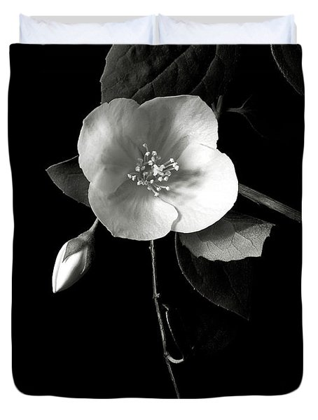 Philadelphus In Black And White Duvet Cover