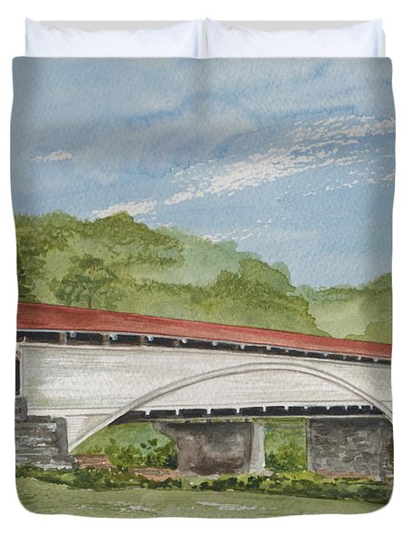 Philippi Covered Bridge  Duvet Cover by Nancy Patterson