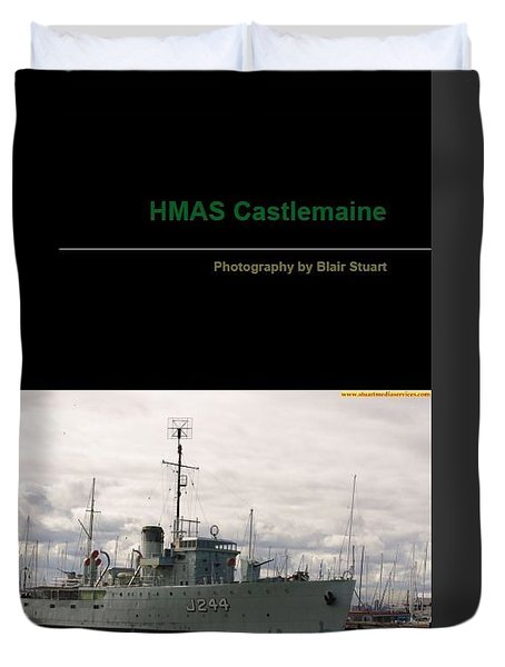 Duvet Cover featuring the mixed media Photobook On Hmas Castlemaine by Blair Stuart