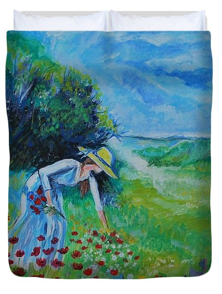 Duvet Cover featuring the painting Picking Flowers by Leslie Allen