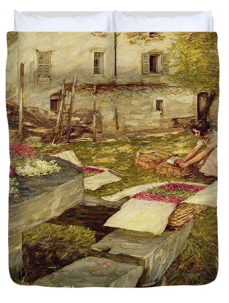 Picking Stocks Duvet Cover by Henry Herbert La Thangue