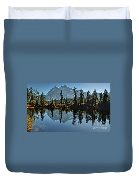 Duvet Cover featuring the photograph Picture Lake - Heather Meadows Landscape In Autumn Art Prints by Valerie Garner