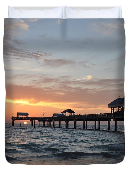 Pier 60 Clearwater Beach Florida Duvet Cover by Bill Cannon
