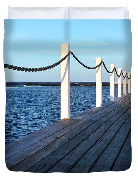 Pier To The Ocean Duvet Cover by Kaye Menner