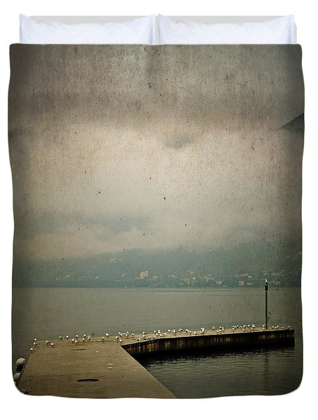 Pier With Seagulls Duvet Cover by Joana Kruse