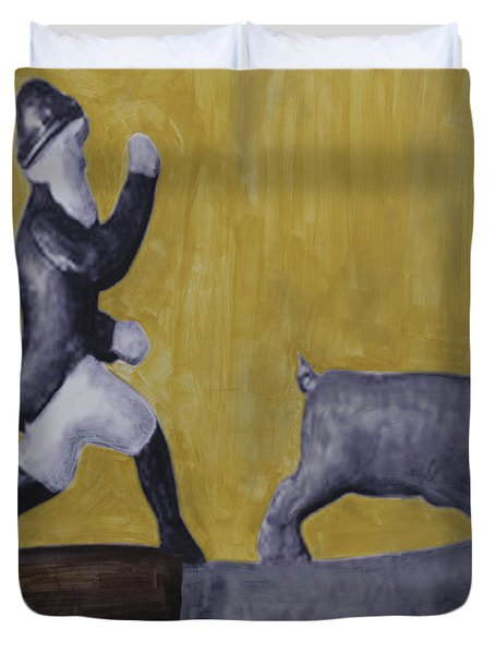 Duvet Cover featuring the painting Pig Chasing by Eric Rhodes