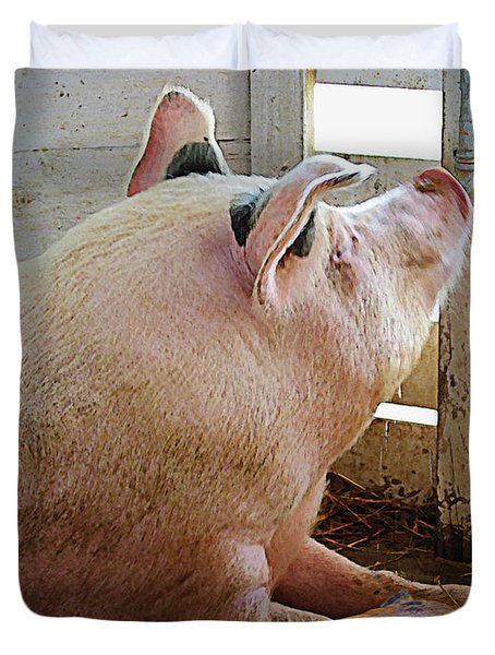 Pig Enjoying The Sun Duvet Cover by Susan Savad