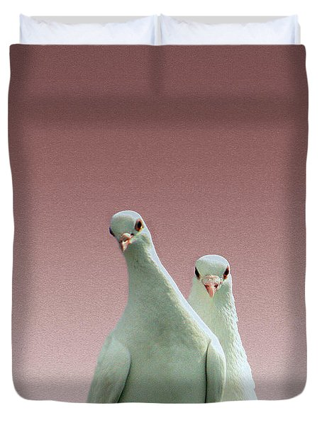 Pigeons In The Pink Duvet Cover by Linsey Williams