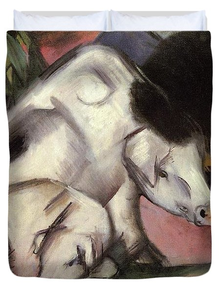 Pigs Duvet Cover by Franz Marc