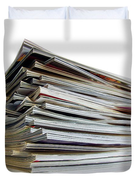 Pile Of Magazines Duvet Cover by Carlos Caetano